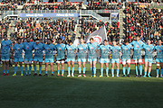 Worcester Warriors players line up for two minute's silence to commemorate the 100th anniversary of Armistice Day at 11.00AM during the Premiership Rugby Cup match between Saracens and Worcester Warriors at Allianz Park, Hendon, United Kingdom on 11 November 2018.