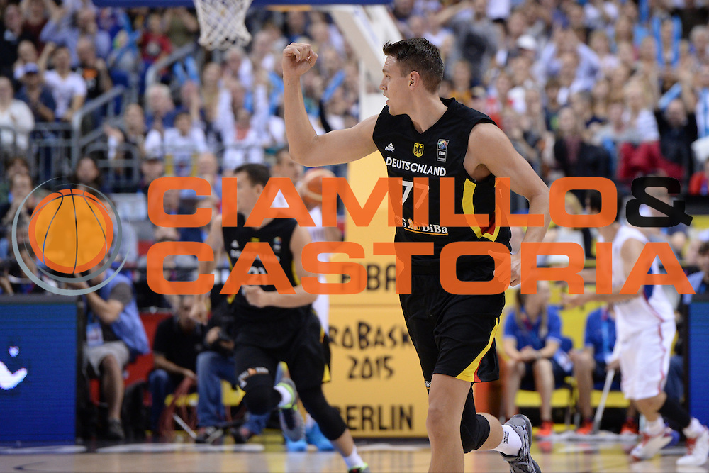 DESCRIZIONE : Berlino Berlin Eurobasket 2015 Group B Serbia Germany<br /> GIOCATORE : Johannes Voigtmann<br /> CATEGORIA : Esultanza Mani <br /> SQUADRA : Germany <br /> EVENTO : Eurobasket 2015 Group B<br /> GARA : Serbia Germany<br /> DATA : 05/09/2015<br /> SPORT : Pallacanestro<br /> AUTORE : Agenzia Ciamillo-Castoria/M.Longo<br /> Galleria : Eurobasket 2015<br /> Fotonotizia : Berlino Berlin Eurobasket 2015 Group B Serbia Germany