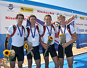 Varese,  ITALY. 2012 FISA European Championships, Lake Varese Regatta Course. ..GBR LM4-  Bow.Sam SCRIMGEOUR, Adam FREEMAN-PASK, William FLETCHER and Jonathan CLEGG, Silver  Medalist Men's Lightweight Four.13:02:56  Sunday  16/09/2012 .....[Mandatory Credit Peter Spurrier:  Intersport Images]  ..2012 European Rowing Championships Rowing, European,  2012 010884.jpg.....