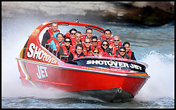 Rebecca Deacon (back middle Sun glasses) and Miguel Head, Private Secretary to The Duke of Cambridge (back Glasses) join the  Duke and Duchess of Cambridge on a ride on a Shotover jet ride in Queensland, New Zealand,  on day 7 of their Royal Tour of New Zealand and Australia-Day 7, Sunday, 13th April 2014. Picture by Andrew Parsons / i-Images