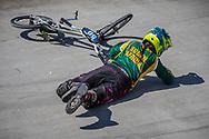 14 Girls #50 (O'BRIEN Chelsey) RSA falls at the 2018 UCI BMX World Championships in Baku, Azerbaijan.