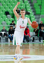 Luka Rupnik of Union Olimpija during basketball match between KK Union Olimpija Ljubljana and KK Cibona Zagreb (CRO) in 11th Round of ABA League 2012/13 on December 2, 2012 in Arena Stozice, Ljubljana, Slovenia. Union Olimpija defeated Cibona 87-82. (Photo By Vid Ponikvar / Sportida)