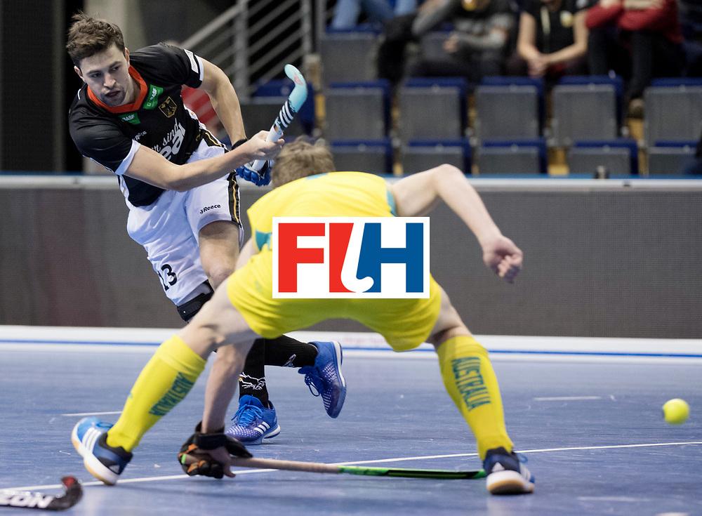 BERLIN - Indoor Hockey World Cup<br /> Men: Germany - Australia<br /> foto: Tobias Hauke.<br /> WORLDSPORTPICS COPYRIGHT FRANK UIJLENBROEK