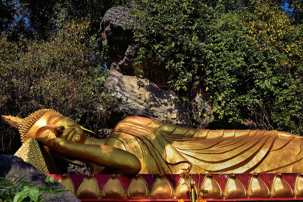Reclining Buddha Represents Nirvana on Mount Phousi in Luang Prabang, Laos  <br />