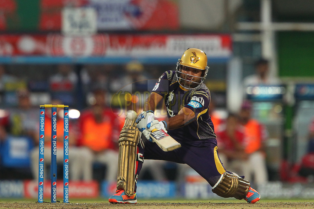 Piyush Chawla ends the innings with a four during the first qualifier match (QF1) of the Pepsi Indian Premier League Season 2014 between the Kings XI Punjab and the Kolkata Knight Riders held at the Eden Gardens Cricket Stadium, Kolkata, India on the 28th May  2014<br /> <br /> Photo by Ron Gaunt / IPL / SPORTZPICS<br /> <br /> <br /> <br /> Image use subject to terms and conditions which can be found here:  http://sportzpics.photoshelter.com/gallery/Pepsi-IPL-Image-terms-and-conditions/G00004VW1IVJ.gB0/C0000TScjhBM6ikg