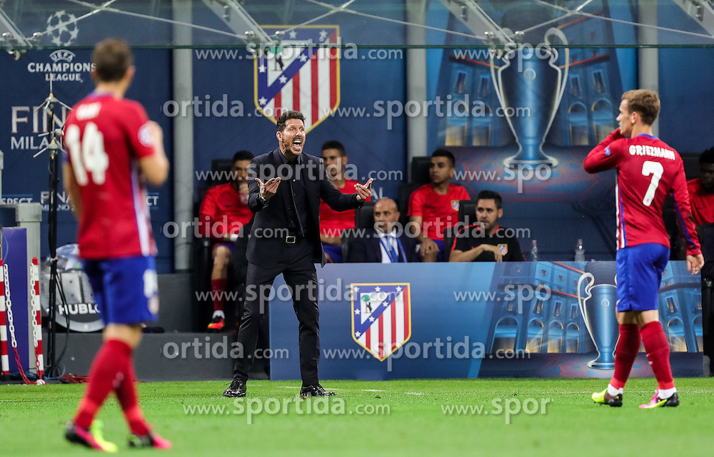 Diego Simeone, head coach of Atlético during football match between Real Madrid (ESP) and Atlético de Madrid (ESP) in Final of UEFA Champions League 2016, on May 28, 2016 in San Siro Stadium, Milan, Italy. Photo by Vid Ponikvar / Sportida