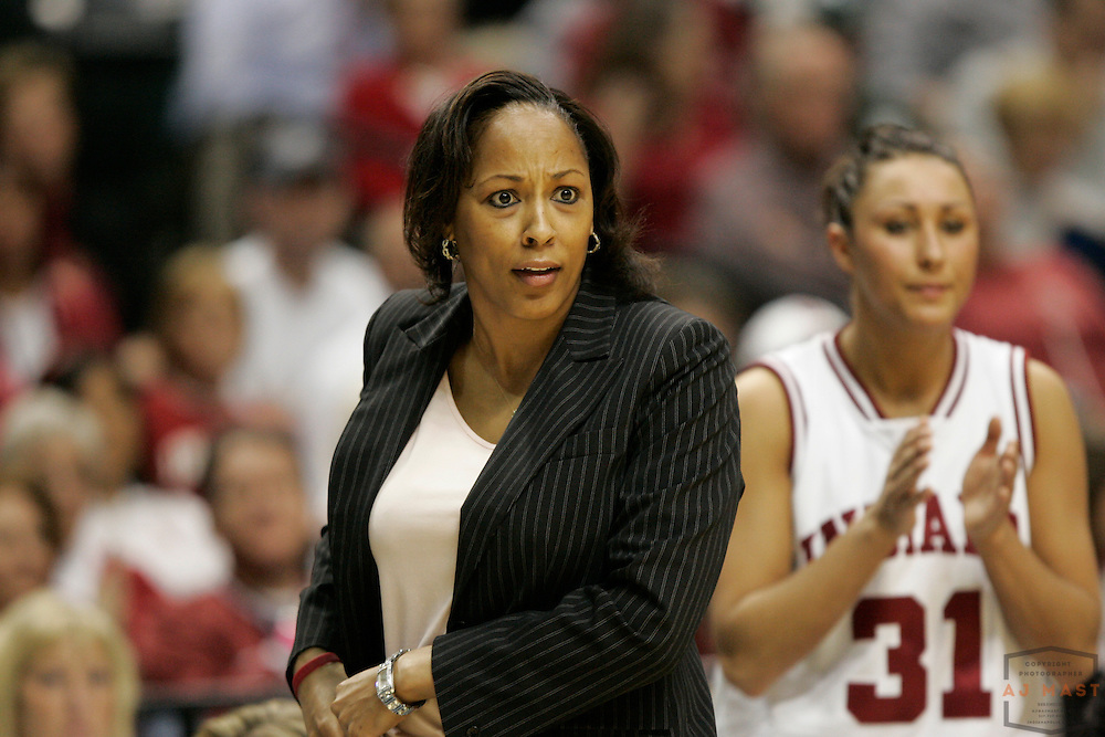 05 March 2009: Indiana coach Felicia Leggett-Jack as the Indiana Hoosiers played the Michigan Wolverines in the first round of the 2009 Women's Big Ten tournament in Indianapolis.
