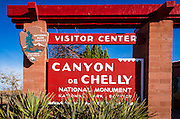 Visitor Center sign, Canyon de Chelly National Monument, Arizona USA