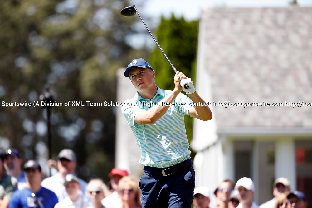 CROMWELL, CT - JUNE 24: Jordan Spieth of the United States on the 6th tee box during the third round of the Travelers Championship on June 24, 2017, at TPC River Highlands in Cromwell, Connecticut. (Photo by Fred Kfoury III/Icon Sportswire)