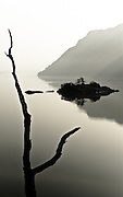 A tree stump frames Norfolk Island, Ullswater from Glencoyne Bay, Lake District, Cumbria, England,UK