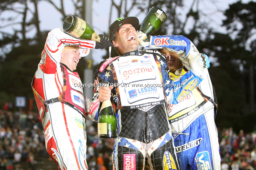 Jaroslaw Hampel (Poland) Greg Hancock (USA) and Nicki Pedersen (Denmark) celebrate after their wins in the 2012 FIM New Zealand Speedway Grand Prix, Western Springs, Auckland, New Zealand. Saturday 31st March 2012. Photo: Wayne Drought / photosport.co.nz