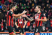 Goal - Steve Cook (3) of AFC Bournemouth celebrates scoring the winning goal to make the score 2-1 with Andrew Surman (6) of AFC Bournemouth during the EFL Cup 4th round match between Bournemouth and Norwich City at the Vitality Stadium, Bournemouth, England on 30 October 2018.