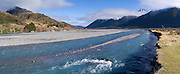 Panoramic view of the Waimakariri River  with the Polar Range in the background, New Zealand.