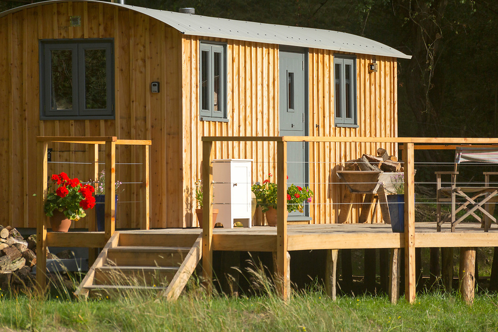 Luxury glamping at the Crown and Canopy site, Old Burfa, Evenjobb, Presteigne, Powys, Wales, UK.