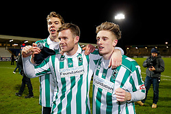 Goalscorers Stephen Turnbull and Jarrett Rivers of Blyth Spartans celebrate after their non league side win 1-2 to progress to the next round of hte FA Cup - Photo mandatory by-line: Rogan Thomson/JMP - 07966 386802 - 05/12/2014 - SPORT - FOOTBALL - Hartlepool, England - Victoria Park - Hartlepool United v Blyth Spartans - FA Cup Second Round Proper.