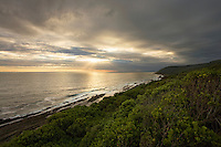 Dramatic sun beams on Indian Ocean, Tsitsikamma National Park, Garden Route, Eastern and Western Cape, South Africa