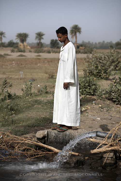 Water is pumped from the Nile into irrigation channels at the town of Kerma, on Friday, March 23, 2007. The banks of the Nile have provided precious cultivatable land for millennia in the what is otherwise barren desert.