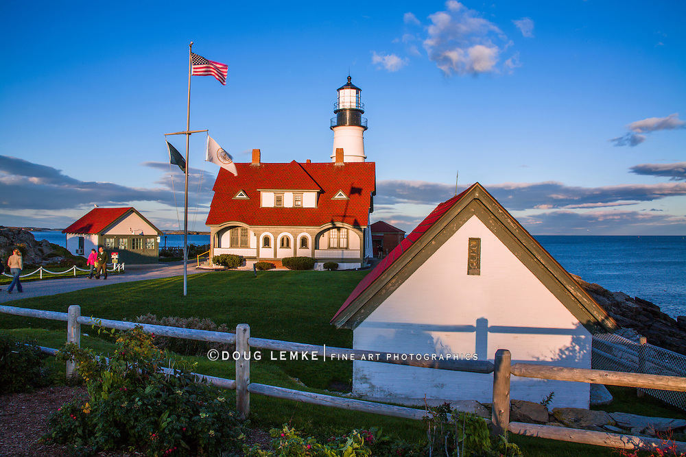 A Classic New England Lighthouse, The Portland Head Light In Late Afternoon On A Beautiful Autumn Day, Portland Maine, USA