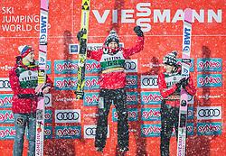 02.02.2019, Heini Klopfer Skiflugschanze, Oberstdorf, GER, FIS Weltcup Skiflug, Oberstdorf, Siegerehrung, im Bild 2. Platz Evgeniy Klimov (RUS), Sieger Kamil Stoch (POL), 3. Platz Dawid Kubacki (POL) // 2nd placed Evgeniy Klimov of Russian Federation Winner Kamil Stoch (POL) 3rd placed Dawid Kubacki of Poland during the Winners Award Ceremony of FIS Ski Jumping World Cup at the Heini Klopfer Skiflugschanze in Oberstdorf, Germany on 2019/02/02. EXPA Pictures © 2019, PhotoCredit: EXPA/ JFK