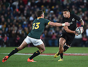 JOHANNESBURG, South Africa, 25 July 2015 : Charles Piutau of the All Blacks prepares to take the hit from Jesse Kriel of the Springboks during the Castle Lager Rugby Championship test match between SOUTH AFRICA and NEW ZEALAND at Emirates Airline Park in Johannesburg, South Africa on 25 July 2015. Bokke 20 - 27 All Blacks<br /> <br /> © Anton de Villiers / SASPA