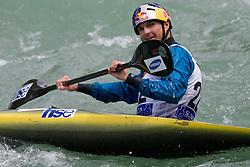 Peter Kauzer of Slovenia competes in the Men's Kayak K1 at Kayak & Canoe ICF slalom race Tacen 2010 on May 16, 2010 in Tacen, Ljubljana, Slovenia. (Photo by Vid Ponikvar / Sportida)