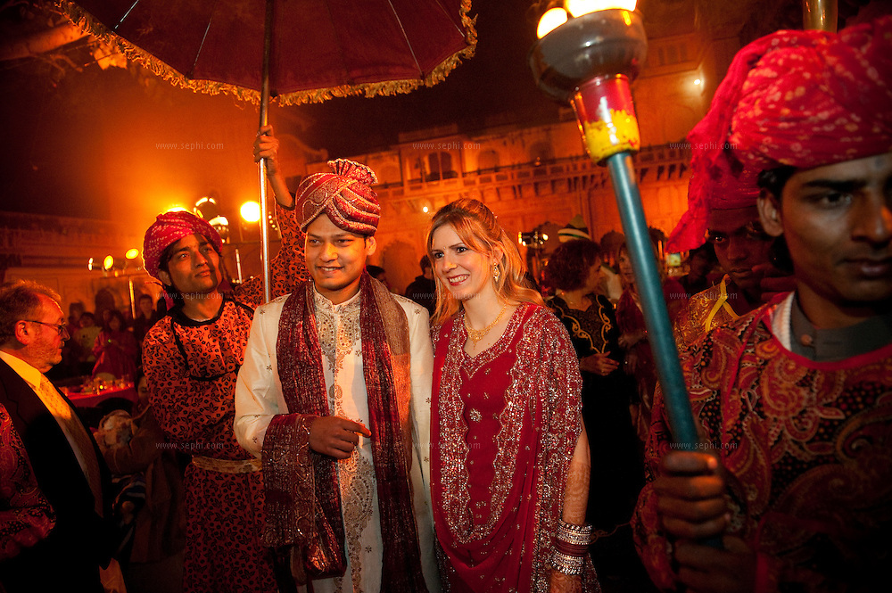 Rahul is Indian and Fanny is French. They had a christian wedding at a church in Delhi and then an Indian reception in a palace, two hours away from New Delhi.