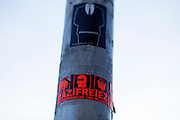 Magdeburg | 18 Jan 2014<br /> <br /> ACHTUNG BESONDERE HONORARKONDITIONEN!<br /> <br /> Am Samstag (19.01.2014) marschierten etwa 1000 Neonazis bei einem &quot;Gedenkmarsch&quot; durch Magdeburg, um der Bombardierungen der Stadt im 2. Weltkrieg zu &quot;gedenken&quot;.<br /> Hier: Aufkleber &quot;Nazifreie Zone&quot; am Hauptbahnhof Magdeburg.<br /> <br /> &copy;peter-juelich.com<br /> <br /> [No Model Release | No Property Release]
