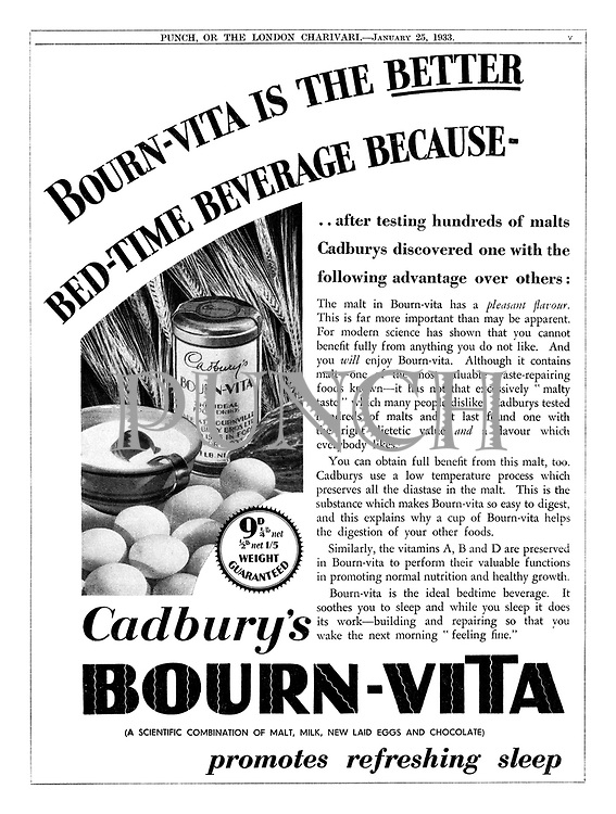 Bourn-vita is the better bed-time beverage because- [Cadbury's Bourn-vita advertisement, Puc=nch, 25 January 1933]