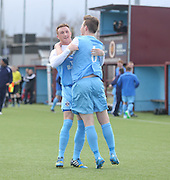 Fairfield's Barry Hegarty is congratulated after firing his side into a 2-1 lead - Harvester v Fairfield - Fosters Scottish Sunday Trophy semi final<br /> <br />  - &copy; David Young - www.davidyoungphoto.co.uk - email: davidyoungphoto@gmail.com