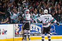 KELOWNA, CANADA - APRIL 23: Cole Linaker #26 of Kelowna Rockets celebrates the first period goal against the Seattle Thunderbirds on April 23, 2016 at Prospera Place in Kelowna, British Columbia, Canada.  (Photo by Marissa Baecker/Shoot the Breeze)  *** Local Caption *** Cole Linaker;
