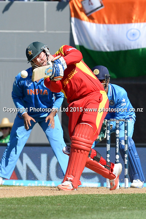 Zimbabwe captain Brendan Taylor in action during the ICC Cricket World Cup match between India and Zimbabwe at Eden Park in Auckland, New Zealand. Saturday 14 March 2015. Copyright Photo: Raghavan Venugopal / www.photosport.co.nz