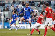 Gillingham midfielder Josh Wright wins the ball in midfield during the Sky Bet League 1 match between Gillingham and Coventry City at the MEMS Priestfield Stadium, Gillingham, England on 2 April 2016. Photo by David Charbit.