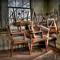 Chairs stacked up in abandoned schoolhouse in USA