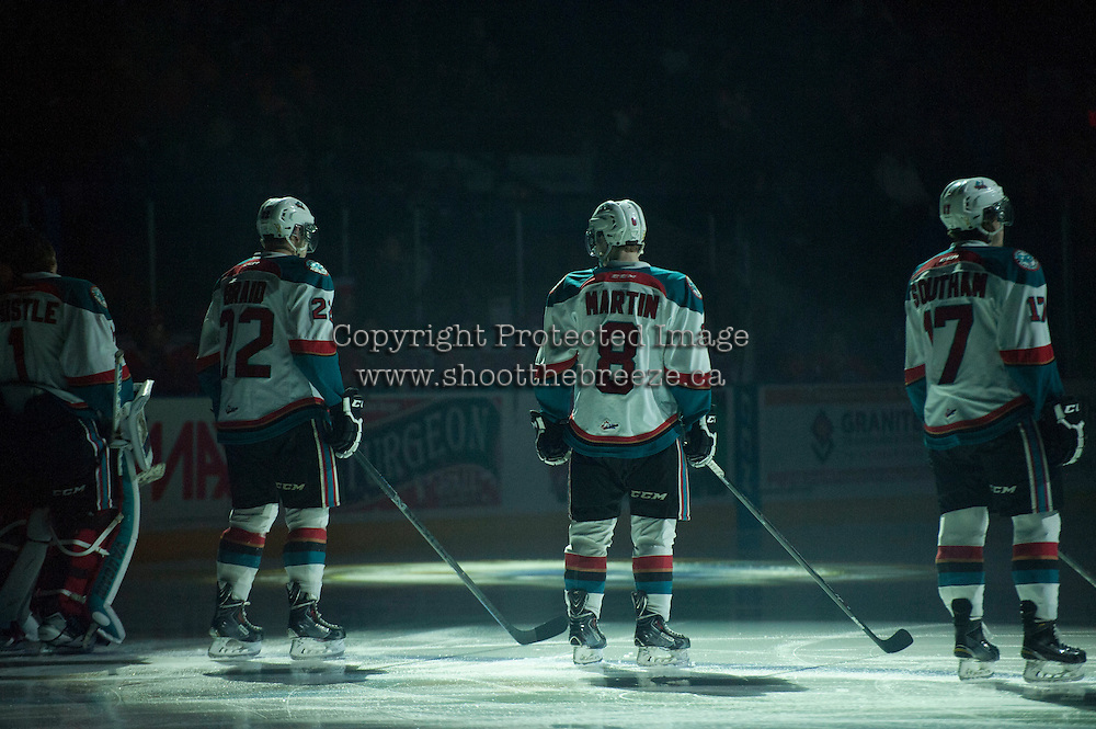 KELOWNA, CANADA - MARCH 7: Chance Braid #22, Colten Martin #8 and Rodney Southam #17 of Kelowna Rockets line up against the Spokane Chiefs on March 7, 2015 at Prospera Place in Kelowna, British Columbia, Canada.  (Photo by Marissa Baecker/Shoot the Breeze)  *** Local Caption *** Chance Braid; Colten Martin; Rodney Southam;