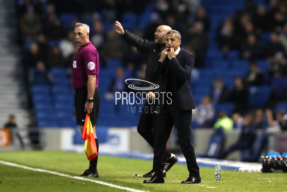 Brighton Manager, Chris Hughton during the EFL Sky Bet Championship match between Brighton and Hove Albion and Wolverhampton Wanderers at the American Express Community Stadium, Brighton and Hove, England on 18 October 2016.