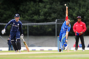 Christi Viljoen bowls during the World Cricket League match between scotland and Namibia at Grange Cricket Club, Edinburgh, Scotland on 13 June 2017. Photo by Kevin Murray.
