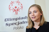 Kinga Baranowska - Polish mountaineer and Special Olympics Ambassador speaks while her TV interview during 30 years anniversary of The Special Olympics Poland at Presidential Palace in Warsaw on March 18, 2015.<br /> <br /> Poland, Warsaw, March 18, 2015<br /> <br /> For editorial use only. Any commercial or promotional use requires permission.<br /> <br /> Mandatory credit:<br /> Photo by © Adam Nurkiewicz / Mediasport