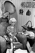 PHOTOGRAPH BY HOWARD BARLOW.PAULA YATES on the set of THE TUBE, Newcastle  1984