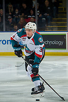 KELOWNA, CANADA - JANUARY 19:  Dalton Gally #3 of the Kelowna Rockets passes the puck against the Prince Albert Raiders on January 19, 2019 at Prospera Place in Kelowna, British Columbia, Canada.  (Photo by Marissa Baecker/Shoot the Breeze)