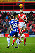 Milan Lalkovič of Walsall FC heads clear during the Sky Bet League 1 match between Walsall and Wigan Athletic at the Banks's Stadium, Walsall, England on 20 February 2016. Photo by Mike Sheridan.
