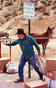 07 AUGUST 2000 - SUPAI, AZ: Charlie Chamberlain, a mule wrangler and mail hauler sorts mail into mule loads in the parking lot eight miles above the village of Supai on the Havasupai Indian reservation in northern Arizona, Aug. 7. There are no roads or rail service into Supai, a village of 600 people on the floor of the Grand Canyon, west of the Grand Canyon National Park, so the mail is delivered by mule train. The wranglers who lead the mules down to the village haul everything from letters and postcards to fresh produce and ice cream. The mail is hauled down the steep mountain slopes five days a week rain or shine. It normally takes about three hours to haul the mail down. Chamberlain, who is self employed, has a contract to deliver the mail to village. He also hauls tourists down to the village and into the Grand Canyon. Because of budget shortfalls, the US Postal Service is threatening to close the post office in Supai.   PHOTO BY JACK KURTZ