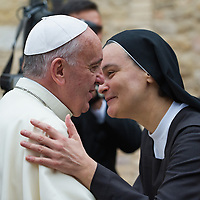 ASSISI, ITALY - OCTOBER 04:  Pope Francis is welcomed by a nun of the order of the Sorelle d'Egitto at S Damiano Sanctuary on October 4, 2013 in Assisi, Italy.  (Photo by Marco Secchi/Getty Images)