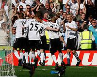 Photo: Steve Bond. <br />Derby County v Portsmouth. Barclays Premiership. 11/08/2007. Derby celebrate Andy todd's late equaliser