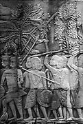 Stone Relief on wall at the Bayon.<br /> Angkor Thom.   November 2001