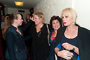 JUDITH OWEN; JENNIFER SAUNDERS; RUBY WAX; JOANNA LUMLEY, Press night for Ruby Wax- Losing it. Duchess theatre. London. 1 September 2011. <br /> <br />  , -DO NOT ARCHIVE-© Copyright Photograph by Dafydd Jones. 248 Clapham Rd. London SW9 0PZ. Tel 0207 820 0771. www.dafjones.com.