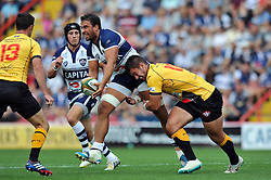 Marco Mama of Bristol Rugby looks to offload the ball - Photo mandatory by-line: Patrick Khachfe/JMP - Mobile: 07966 386802 21/09/2014 - SPORT - RUGBY UNION - Bristol - Ashton Gate - Bristol Rugby v Cornish Pirates - GK IPA Championship.