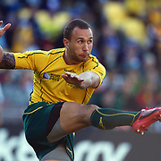 Quade Cooper, Australia, kicks during the South Africa V Australia Quarter Final match at the IRB Rugby World Cup tournament. Wellington Regional Stadium, Wellington, New Zealand, 9th October 2011. Photo Tim Clayton...