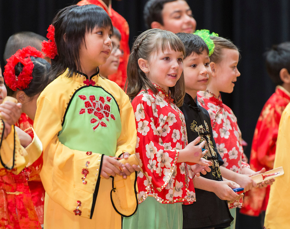 Kolter Elementary School students perform during a district wide celebration of the Chinese New Year at Sharpstown International School, February 22, 2014.