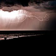 Lightning strike over Bear Lake Utah Idaho.