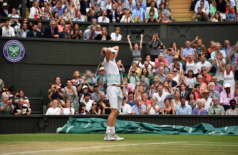 Kevin Anderson reacts at match-point following his 7-6 (8/6) 6-7 (5/7) 6-7 (9/11) 6-4 26-24 victory in the longest semi-final in the tournament's history on day eleven of the Wimbledon Championships at the All England Lawn Tennis and Croquet Club, Wimbledon.